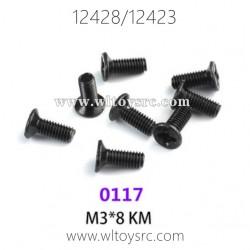 WLTOYS 12423 12428 1/12 Car Parts, 0117 M3X8 KM Screws
